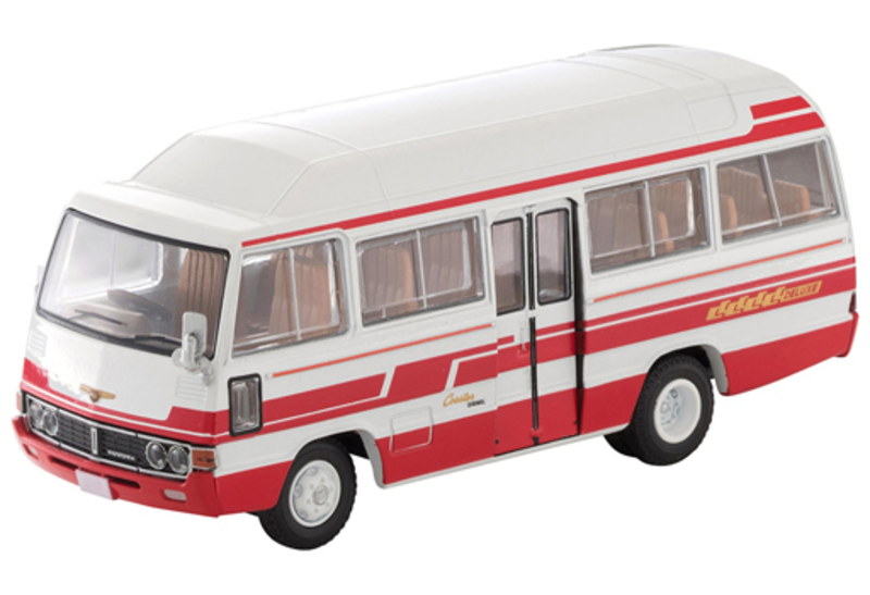 1/64 Tomica Limited Vintage LV-184b Toyota Coaster High Roof Deluxe Car (White/Red)