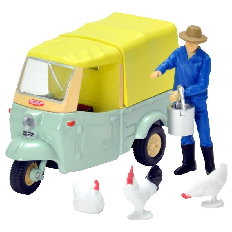 1/64 Tomica Limited Vintage LV-143d Daihatsu Midget (Yellow-green/Beige) w/Figure